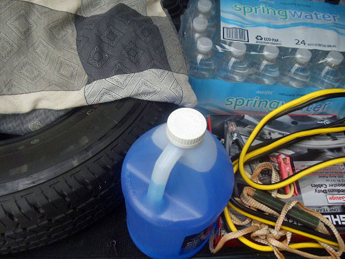 Day road trip tips - have a spare tire, windshield washer fluid, jumper cables