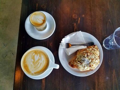 Latte and Cortado coffee at Condesa Coffee in Atlanta
