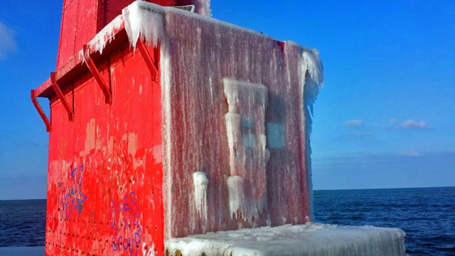 Iced over Muskegon's South Breakwater Light, Lake Michigan lighthouses
