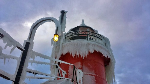 South Haven Lighthouse along Lake Michigan during the heart of winter.