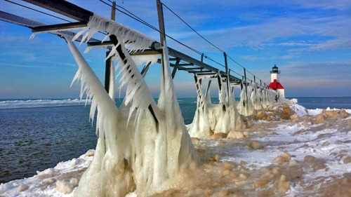 St. Joseph pier along Lake Michigan