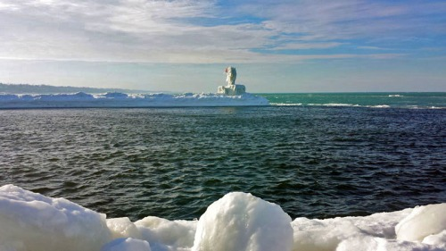Taking in the wintry blue waters of this Great Lake., St. Joseph. Michigan