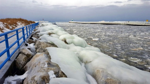 The frozen channel between White Lake and Lake Michigan
