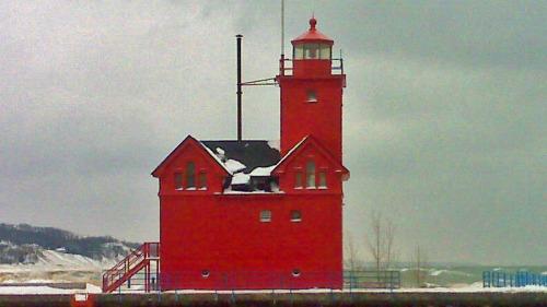 "Holland ""Big Red Lighthouse"" in Michigan along Lake Michigan"