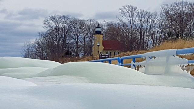 Icue formations along side White River Light in Whitehall, Michigan