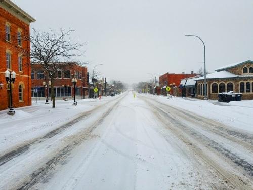 Downtown Brighton, Michigan, Main Street, Winter Storm Mateo