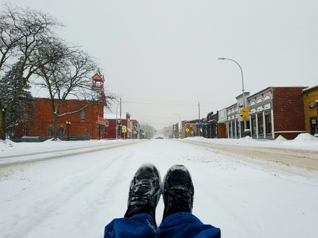 Downtown Brighton, Michigan, Main Street, Winter Storm Mateo