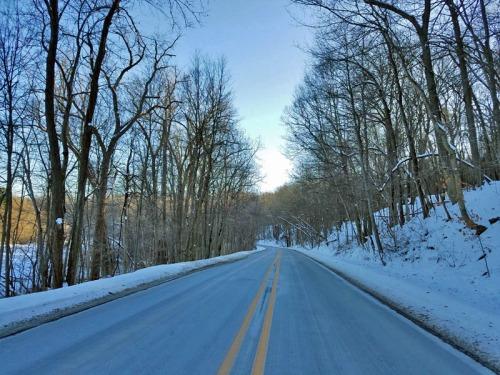 Huron River Drive in winter, Ann Arbor, Michigan