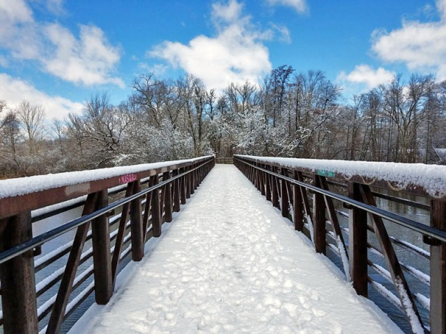 Pedestrian bridge over Huron River, Barton Nature Area, Ann Arbor