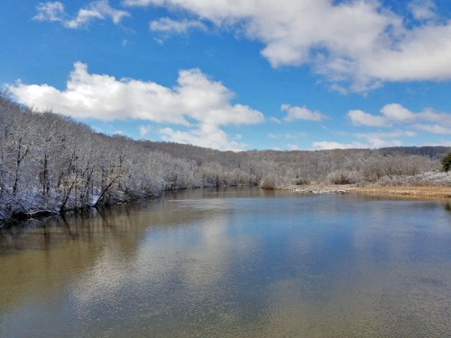Huron River and snow covered hills of Ann Arbor, Michigan