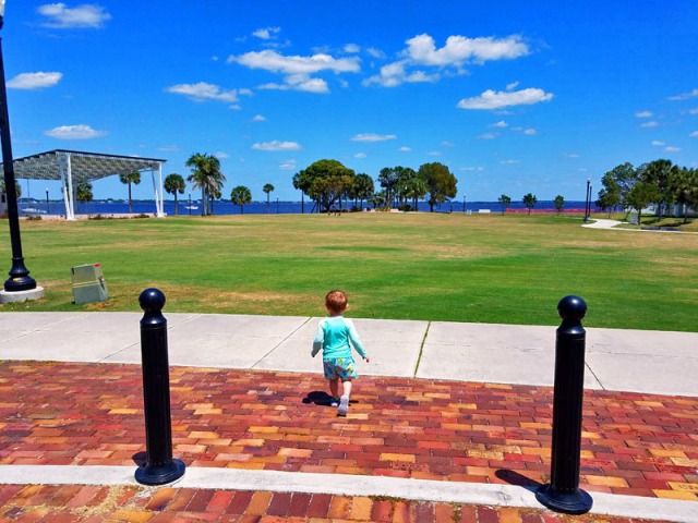 My little man loves wide open spaces. In Punta Gorda, Florida.