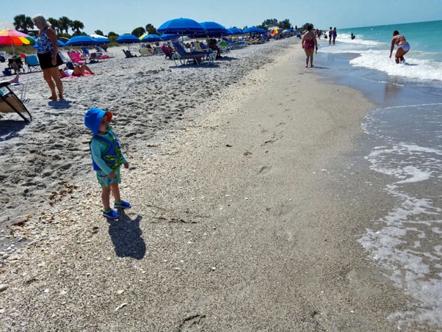 Kid travel! My little man getting his first taste of Florida and the Gulf of Mexico (ocean).