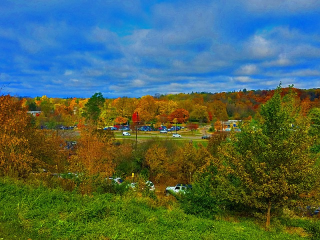 Ann Arbor overlook from University of Michigan hospital, Fall colors