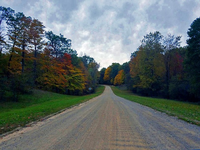 Out on the open dirt road trail at Huron Meadows Metropark