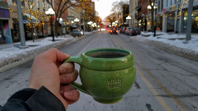 Ann Arbor Polar Vortex 2019 - Roos Roast morning coffee - Main Street